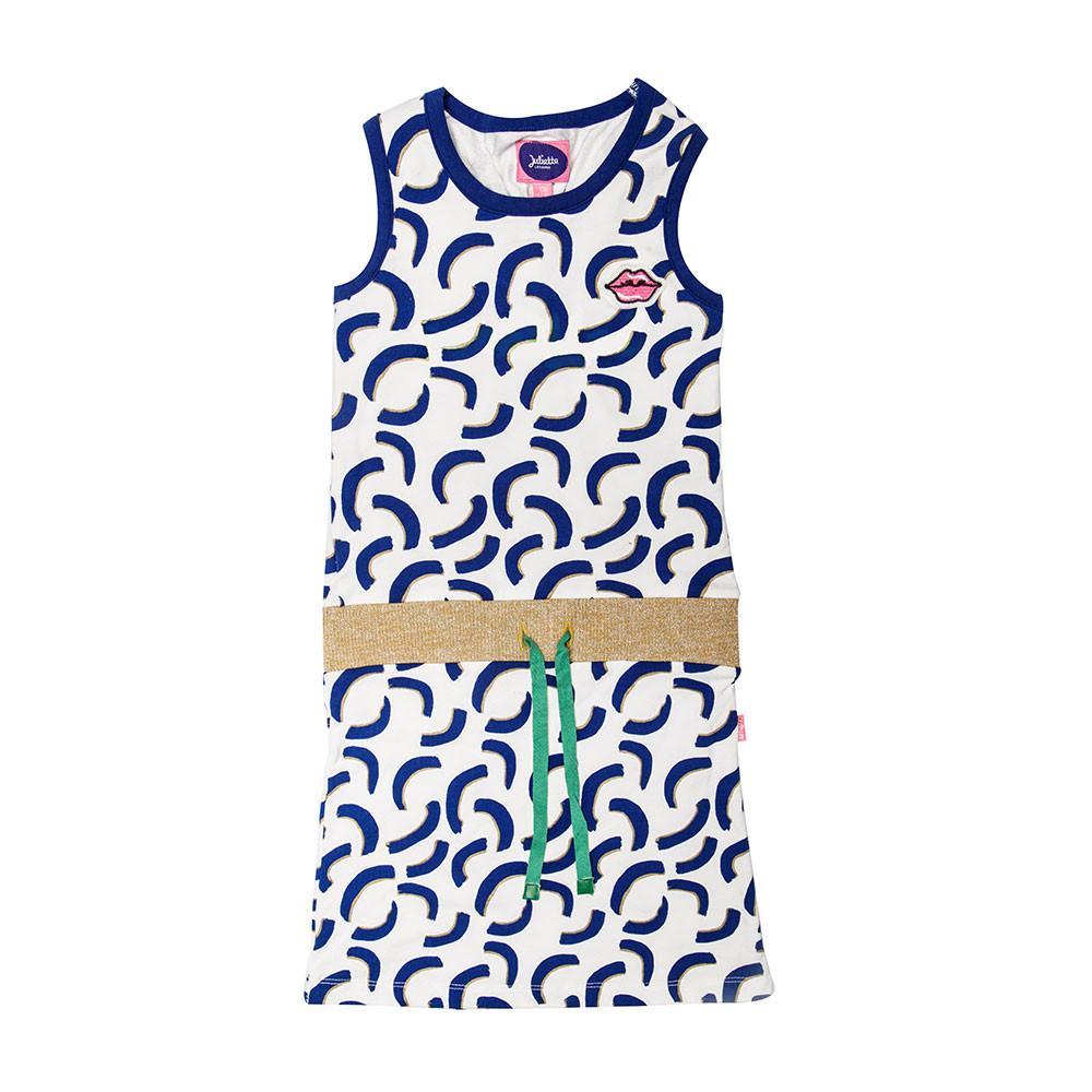 541b60e5746f27 Little Miss Juliette jurk voor girls. De jurk uit de FLASHcollectie is  voorzien van blauw-gouden all-over print.